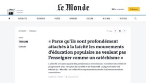Tribune – Pour l'éducation populaire, la laïcité n'est pas un catéchisme